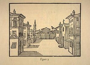 Nicola Sabbatini - Perspective drawing of a complex stage set, from p. 23 of Sabbatini's book, 1638.