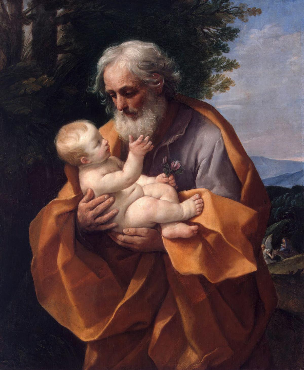San Giuseppe e il bambino Gesù in un dipinto di Guido Reni.