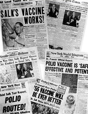 Public health - Newspaper headlines from around the world about polio vaccine tests (13 April 1955)