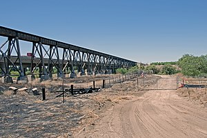 San Joaquin River Viaduct - Site of the bridge just prior to construction.  The existing Union Pacific Railroad and California State Route 99 bridges are visible to the left.