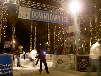 "Downtown San Jose - The San Jose Downtown Association hosts its annual ""Skating Under the Palms"" event during the winter holiday season."