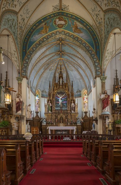 Sanctuary of the Nativity of Mary, Blessed Virgin Catholic Church, also known as the St. Mary Catholic Church, in High Hill, a little community near Schulenburg in Fayette County, Texas LCCN2014631550