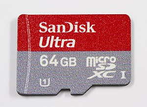 Secure Digital - SanDisk microSDXC card with UHS-I and UHS speed class 1 markings