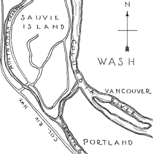 U.S. Route 30 in Oregon - 1937 sketch including Columbia River Highway (now U.S. Route 30) as it passes west of Sauvie Island, northwest of Portland