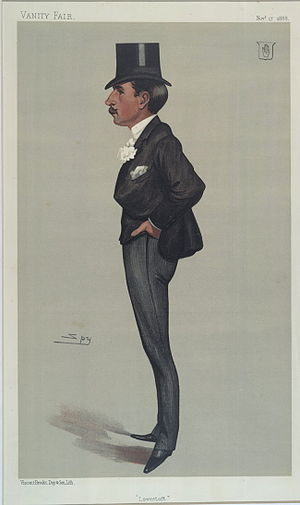 "Savile Crossley, 1st Baron Somerleyton - ""Lowestoft"". Caricature by Spy published in Vanity Fair in 1888."