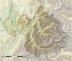 """Mapa konturowa Sabaudii, na dole nieco na prawo znajduje się punkt z opisem """"źródło"""", natomiast w centrum znajduje się punkt z opisem """"ujście"""""""