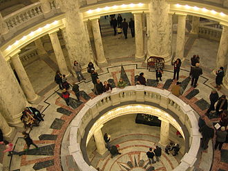 Idaho State Capitol - Visitors tour the restored Capitol in 2010.