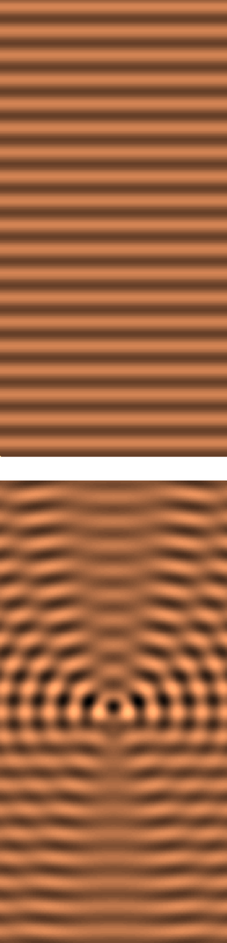 Scattering theory - Top: the real part of a plane wave travelling upwards. Bottom: The real part of the field after inserting in the path of the plane wave a small transparent disk of index of refraction higher than the index of the surrounding medium. This object scatters part of the wave field, although at any individual point, the wave's frequency and wavelength remain intact.