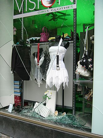 Criminal damage in English law - A smashed shop window – photographed on 7 May 2005