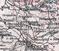 Wzgórza Trzebnickie na mapie Śląska z 1905 r.