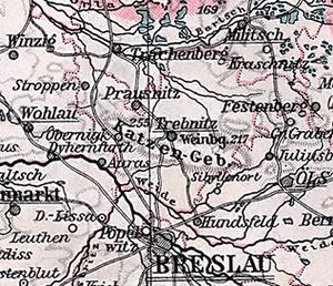 Trzebnickie Hills - Katzengebirge north of Breslau (Wrocław) on a 1905 German map