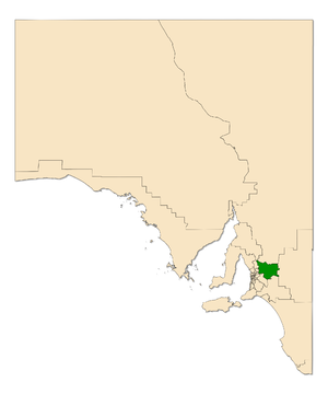 Electoral district of Schubert - Electoral district of Schubert (green) in South Australia