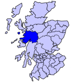 Lochaber - Map of Scotland showing the district of Lochaber from 1975 to 1996