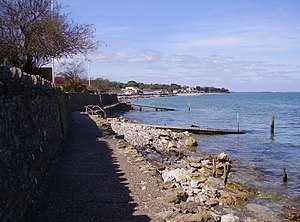 Seaview, Isle of Wight - The seafront at Seaview, looking towards Ryde, with Ryde Pier visible in the far distance