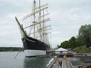 The Pommern, anchored in the western of Mariehamn's two harbours, Västerhamn.