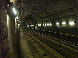 Seikan Tunnel - Yoshioka-Kaitei Station platform in the Seikan Tunnel