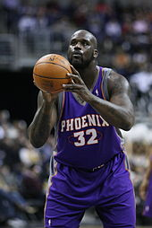Shaquille O'Neal preparing to shoot a free throw