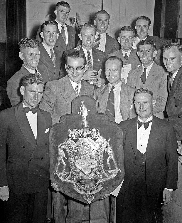 Western Australia team with the 1948 Sheffield Shield Sheffield Shield WA cricket team 1948.jpg