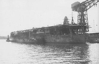 Japanese aircraft carrier Shōhō - Shōhō undergoing conversion into a light carrier, 2 September 1941