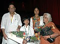 Shri Sivan, Director and Master Navneet, child artiste of the film 'Keshu' at the presentation of the film, during the 40thInternational Film Festival (IFFI-2009), at Panaji, Goa on November 28, 2009.jpg