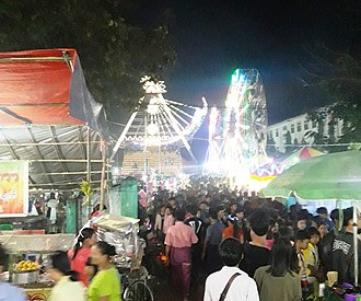 Pagoda festival - Temporary bazaar and amusement rides of Shwesandaw Pagoda festival in Pyay, Myanmar