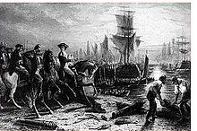 Engraving depicting the British evacuation of Boston