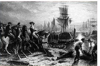Evacuation Day (Massachusetts) - Engraving depicting the evacuation of Boston