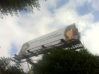 Sikivu Hutchinson - African Americans for Humanism billboard featuring Sikivu Hutchinson and Zora Neale Hurston