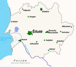 Map of Šilutė district municipality