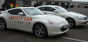 Safety car - Two Superleague Formula safety cars in the paddock at Silverstone Circuit