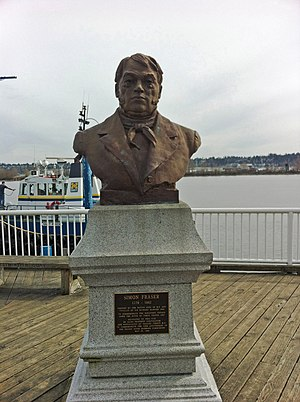 Simon Fraser (explorer) - A bust of Fraser, located by the river that bears his name, New Westminster, British Columbia