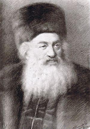 "Kolpik - Rabbi Shimon Sofer wearing a ""kolpik"""