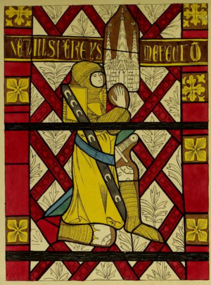 Charles Alfred Stothard - Drawing of mediaeval stained glass in east window of Bere Ferrers Church, Devon, depicting Sir William Ferrers, founder of the church. Published in the Lyson Brothers' Magna Britannia, Vol.6, Devonshire, 1822