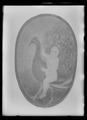 Sköld av trä med målat motiv föreställande pojke ridande en påfågel - Livrustkammaren - 60539.tif