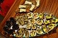 Smørrebrød med makrel og røræg, med æg og rejer, med andeleverpostej og cornichoner, med frikadeller og rødkål og med ost (8499556823).jpg