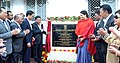 Smriti Irani accompanied by the Chief Minister of Meghalaya, Dr. Mukul Sangma and the Minister of State for Home Affairs, Shri Kiren Rijiju inaugurating the Apparel & Garment Making Centre, at Hatisil, Ampati, in Meghalaya (1).jpg