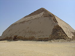Sneferu's bent pyramid at Dahshur, an early experiment in true pyramid building