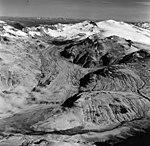 Snowy Mountain and Katmai Glacier, terminus of ash covered valley glacier, August 26, 1969 (GLACIERS 7051).jpg