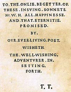 The Portrait of Mr. W. H. - The dedication to Mr. W.H. in the first edition of the sonnets