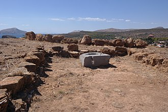Sounion - View from within the remains of the temple of Athena, looking west.