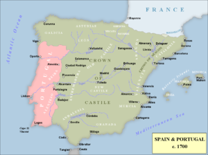 Map Of Spain Portugal And France.War Of The Spanish Succession Wikipedia