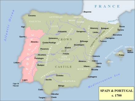 Peninsular Spain, showing Crowns of Castile and Aragon. Spain 1702-1714.png