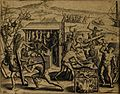 Spaniards selling and forcing native americans to eat human flesh Narratio regionum fol 62.jpg