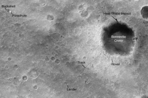 Krater Bonneville. Übersichtsfoto durch Mars Global Surveyor