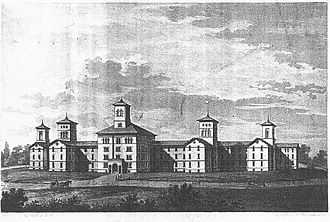 Spring Grove Hospital Center - 1853 architect's rendering of the proposed new buildings for the Maryland Hospital for the Insane at Spring Grove. Construction was completed in 1872, though the buildings were eventually demolished in 1963.