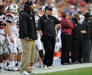 Steve Spurrier - Spurrier stands on the sidelines during the Gamecocks' November 15, 2008 game against Florida.