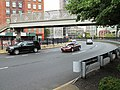 St. John's Park pedesrtrian bridge over Holland Tunnel exit rotary.jpg