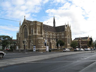 St Mary Star of the Sea, West Melbourne - The exterior of St Mary's. Notice the uncompleted tower.