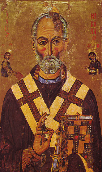 Santa Claus - A 13th-century depiction of St. Nicholas from Saint Catherine's Monastery, Sinai