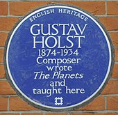 commemorative plaque to Holst